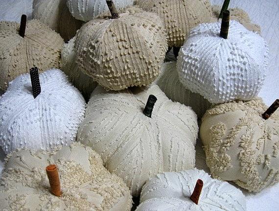 fabric pumpkins - afternoon tea, shades of white -  set of 3 p U m P k I nS