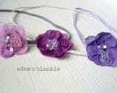 Vintage Purple - CHOOSE from NINE Colors - Orchid Violet Purple Flower - Beads Sequins - Skinny Headband - Baby Toddler Newborn Girls Adults