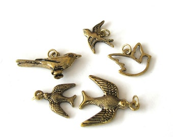 Antiqued Gold Metal Bird Charms, Set of 5, 1046-13