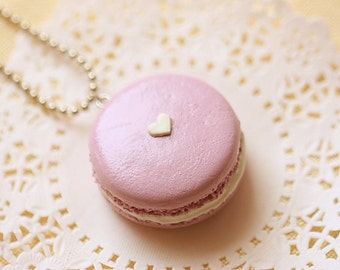 Food Jewelry - Lavender Love Macaron Necklace - Gift For Her