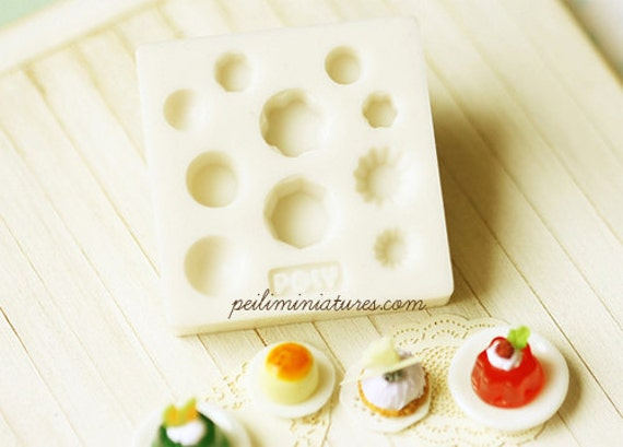 Miniature Clay Mold Push Mold for Dollhouse Miniature Cakes Pastries Cupcakes Desserts