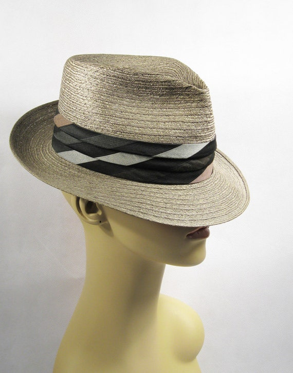 Vintage Fedora Straw Beaumont Sz 6 7/8