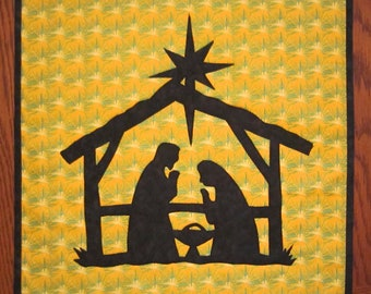 NATIVITY Mini Quilt from Quilts by Elena Silhouette Applique Wall Hanging