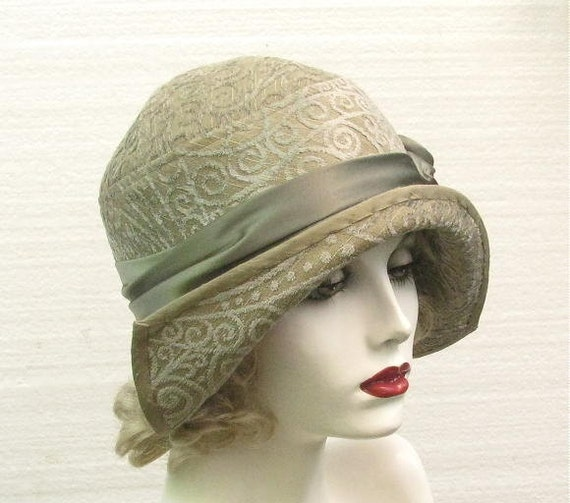 great gatsby vintage style 1920 s womens hat in green