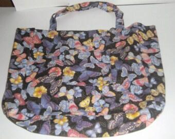 Butterfly Tote Bag - Large Pocket Tote Bag - Market Bag - Reusable Tote Bag - Bright Butterflies on Black - Short Handled Bag