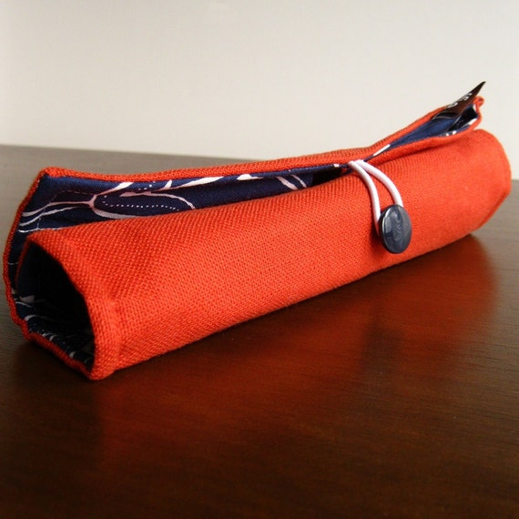 Black Friday Etsy Cyber Monday - FREE SHIPPING over 50.00 - Makeup Brush Roll - Size Small - Orange and Dark Blue