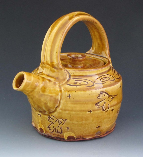 Teapot Amber Glaze with Flying Birds -TP3