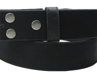 """Black Leather Belt Strap with Snaps- Removable Changeable - Mens Womens - 1.5"""" width - 37 38 39 - 20+ Other Belt Styles and Colors Available"""
