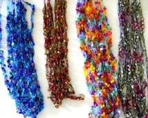 Pattern for Crocheted yarn Ladder Ribbon yarn Necklace,  PDF pattern tutorial, trellis necklace pattern, digital download