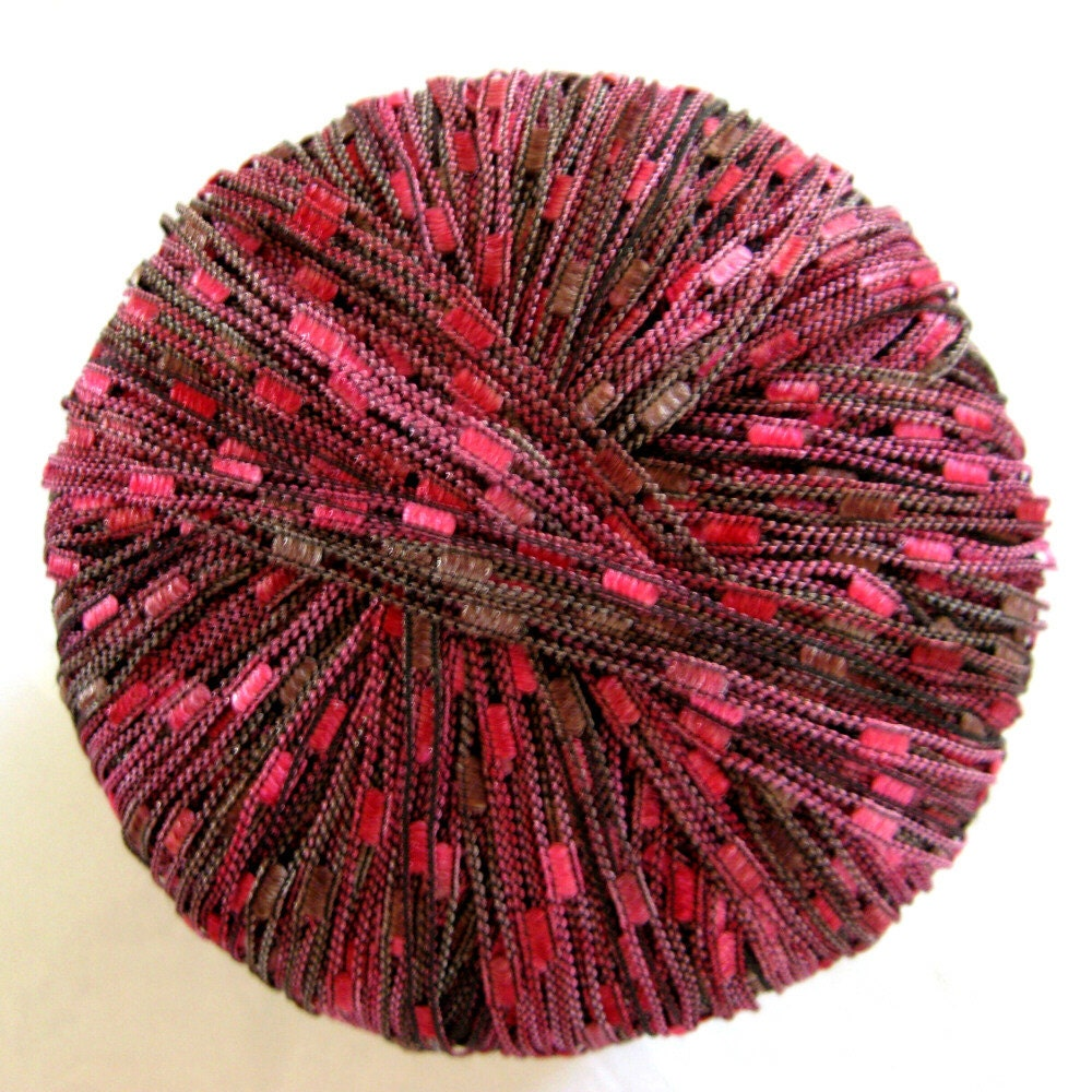 Ribbon Yarn : Red wine ladder ribbon yarn Bernat Matrix Web Wine by crochetgal