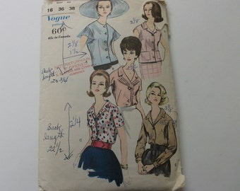 40s Vintage Vogue Blouse Pattern 16