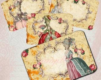 INSTANT DOWNLOAD - Marie Antoinette 5210 - 3 X 5  -  Printable Digital Collage Sheet - Digital Download