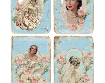 INSTANT DOWNLOAD  - Bride Tags 55 - Cards  -  Printable Digital Collage Sheet - Wedding - Shower
