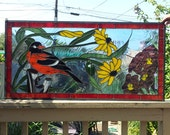 "Stained glass panel - ""Oriole in a Floral Surrounding"" (P-25)"