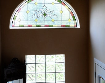 """Stained Glass Window/ Hanging Panel- """"Refined Arch"""" (P-22)"""