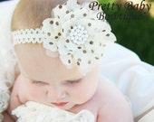 Baby Headbands - Baby Girl Headband - Newborn Headband - Polka Dot Flower Headband - Baby Bow Headband - Baby Toddler - Girl