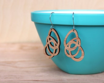 Bamboo Earrings - Geometric Petals - eco friendly  & lightweight