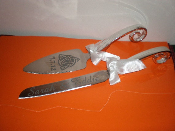 irish wedding cake servers wedding personalized cake server and knife by 16483