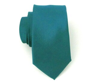Mens Ties. Teal Skinny Tie - Teal Green Tone on Tone Stripe Skinny Necktie
