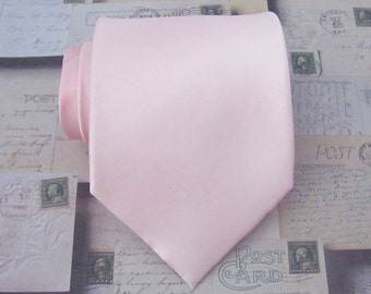 Mens Ties Pastel Pink Tie Pale Pink Silk Necktie With Matching Pocket Square Option