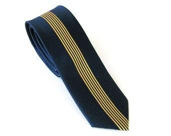 Mens Necktie Skinny Tie - Navy Blue and Gold Vertical Striped Silk Skinny Necktie