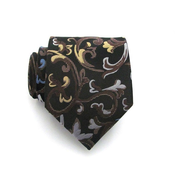 Mens Tie - Black Brown and Blue Brocade Silk Necktie