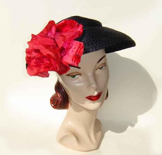 Vintage 40s 50s Hat New Look Rawak Model Pancake Platter Navy Blue Straw & Red Silk Rose Flower