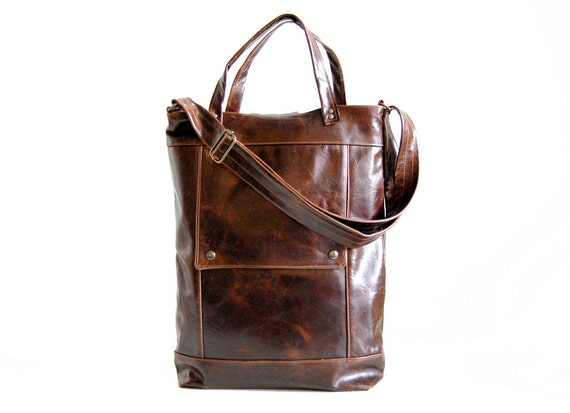 Briefcase in Java Brown Leather  - Made to Order