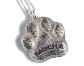 Dog Paw Necklace Jewelry Personalized Custom Sterling Silver Name