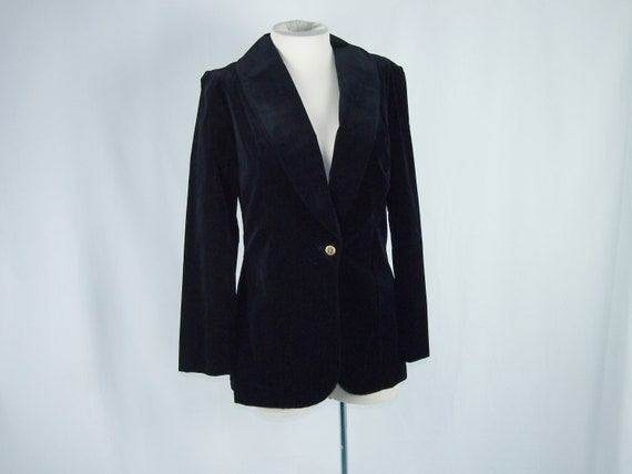 Black Velveteen Orvieto 70s Jacket Vintage Clothing