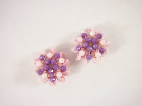 Purple and Pink W Germany 50s Earrings Vintage Jewelry