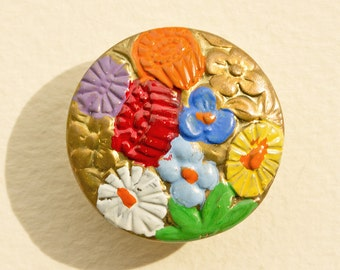 Art Deco Cold Enamel Floral  Button, Vibrant Bright Summer Colors 1920-1930's