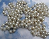 Vintage Pearl Chain 12 feet 10mm round on brass necklace supplies destash pearl chain less than one dollar a foot