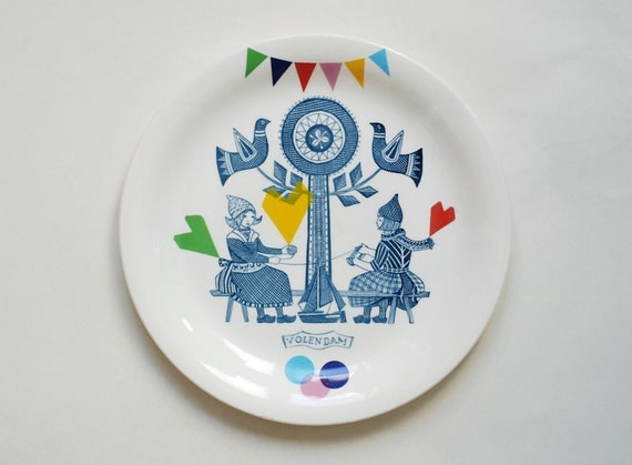 SECONDS SALE Folklore and fun plate 'Volendam', ready to ship