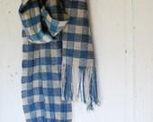 Handwoven linen check scarf