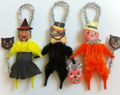 HALLOWEEN witch + black cat + JOL vintage style chenille ORNAMENTS set of 3