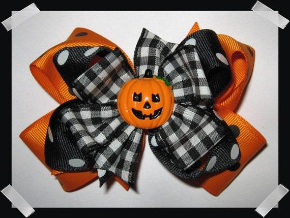 Happy Jack O Lantern Layered Grosgrain Halloween Hair Bow