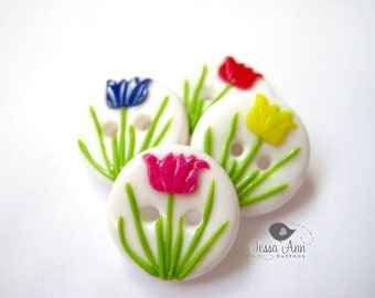 Spring Tulips  (set of 4 handmade buttons)