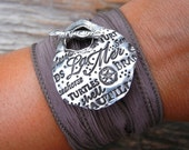 Ocean Jewelry, Silk Wrap Bracelet, Nautical Jewelry, Beach Silk Wrap Bracelet, Handmade Ocean Silver Silk Wrap Bracelet, J'Adore La Mer