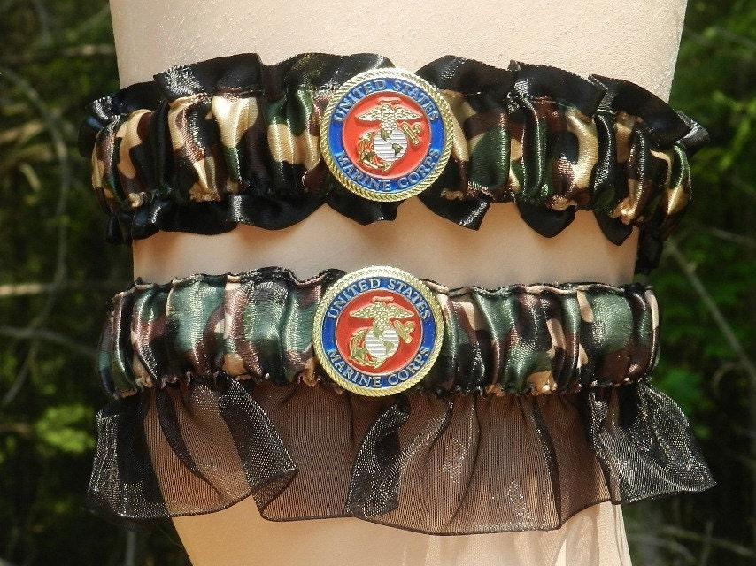USMC marine Corps military wedding garter set black EGA bridal  USMC marine Cor...