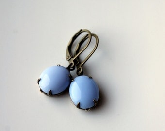 Light Blue Vintage Earrings / Opaque Light Periwinkle Blue Glass Earrings / Dangle Earrings / Vintage Jewelry for the Modern Woman