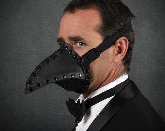 Pestis Riveted Plague Doctor half mask in Black