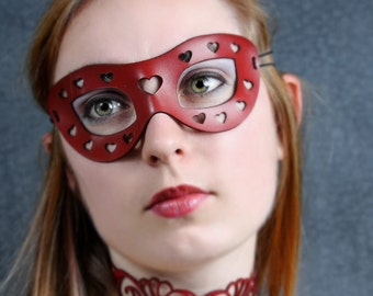 Mini Hearts Leather Mask in Red