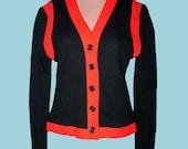 Vintage 70s Cardigan Jacket Two Tone NOS S