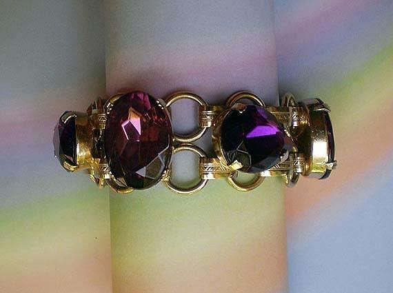 Vintage 50s Purple Faceted Glass Link Bracelet
