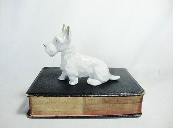vintage scottish terrier figurine white wheaten scottie