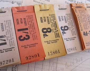 vintage tickets - paper ephemera - peaches and cream - 12 - bus tickets