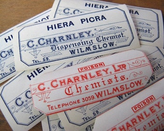 vintage pharmacy poison labels - chemist medical apothecary - 8 pharmacy labels - poison