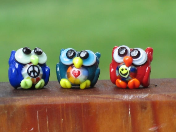 Mini Owls Lampwork Beads - peace love happiness