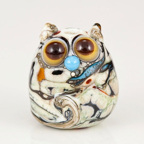 Earthy Cat Lampwork Glass Bead - silvered ivory, topaz, turquoise